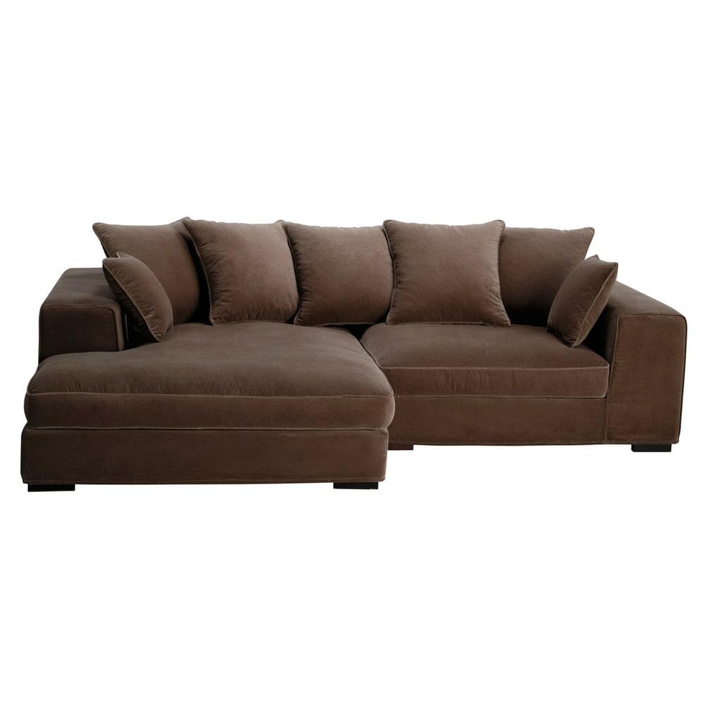 Taupe Velvet Sofa: 4 Seater Velvet Corner Sofa In Taupe Bruges