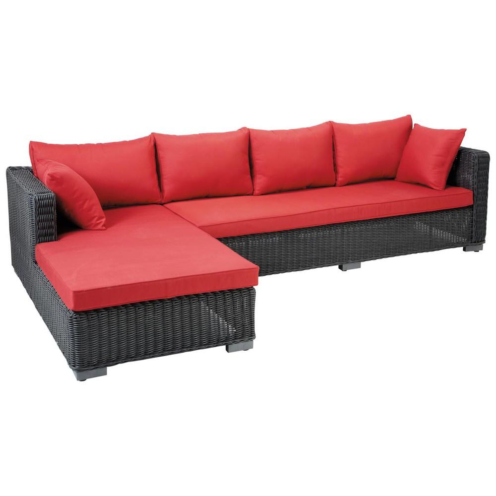 4 Seater Wicker Garden Corner Sofa In Ash Black Porto