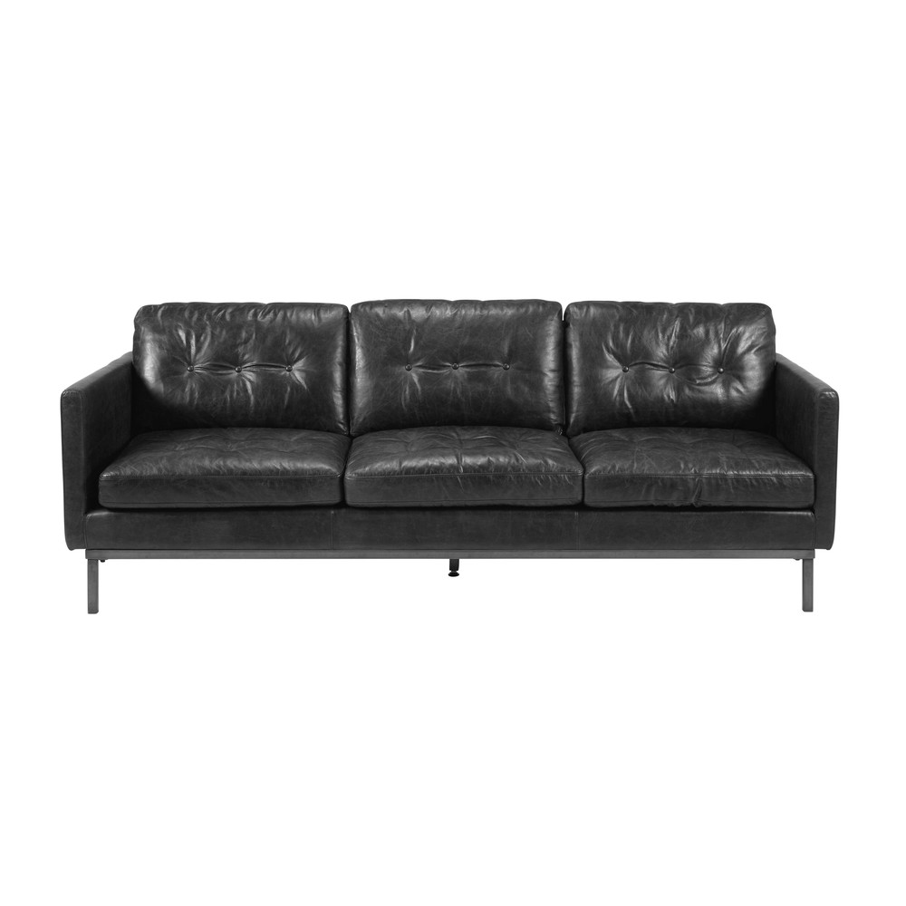 4 sitzer sofa aus vachetteleder schwarz in gealterter optik trent maisons du monde. Black Bedroom Furniture Sets. Home Design Ideas