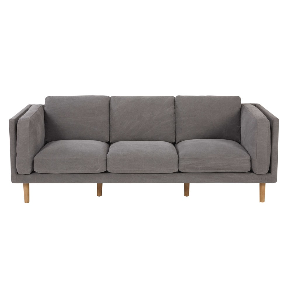 4 sitzer sofa mit grauem baumwollbezug harper maisons du monde. Black Bedroom Furniture Sets. Home Design Ideas