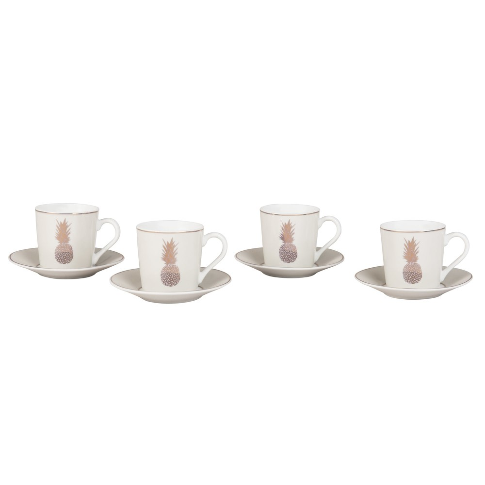 4 tasses et soucoupes caf en porcelaine imprim ananas. Black Bedroom Furniture Sets. Home Design Ideas