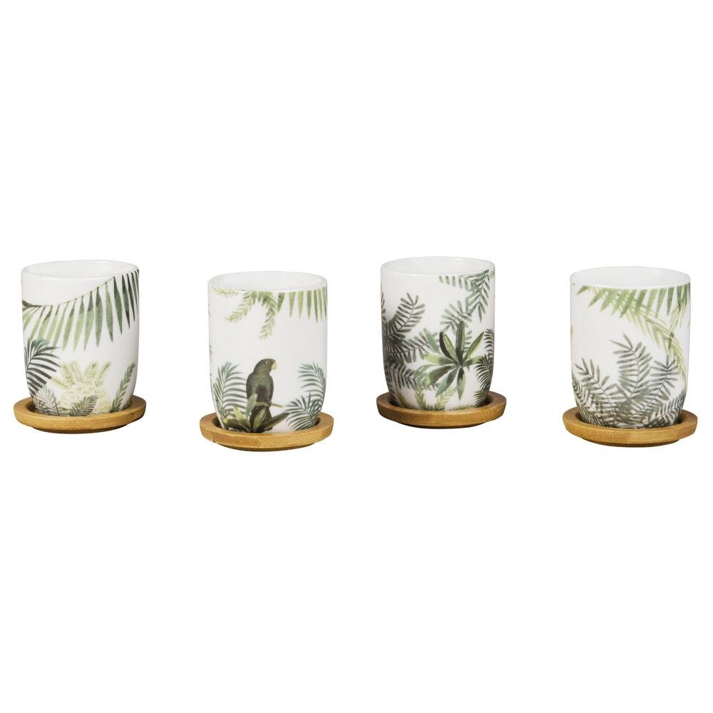 4 tazze da caffé in porcellana con motivo tropicale con
