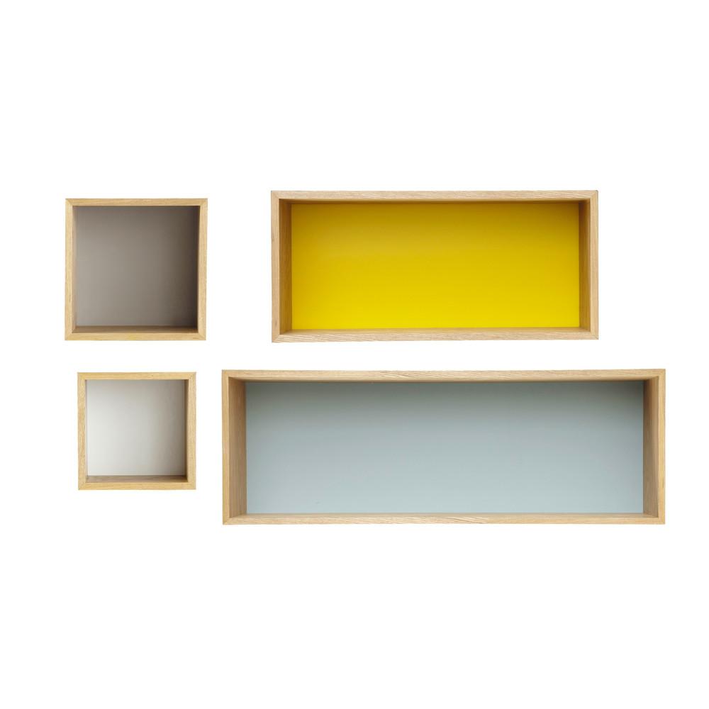 4 vintage wandregale aus holz bunt l 25 l100 fjord. Black Bedroom Furniture Sets. Home Design Ideas