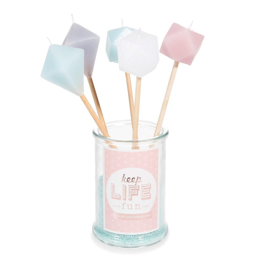 5 bougies sur b tonnets bocal en verre g om trique maisons du monde. Black Bedroom Furniture Sets. Home Design Ideas