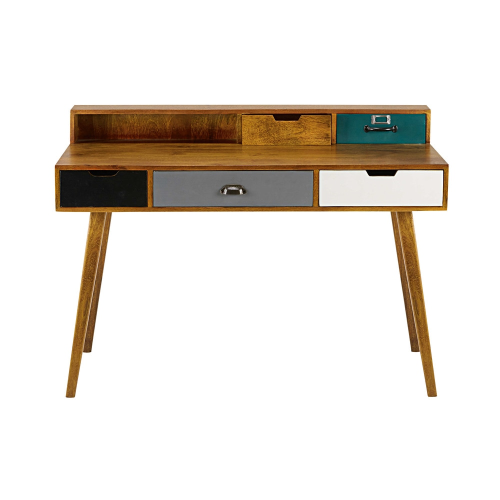5 drawer solid mango wood desk picadilly maisons du monde for Maison de monde uk