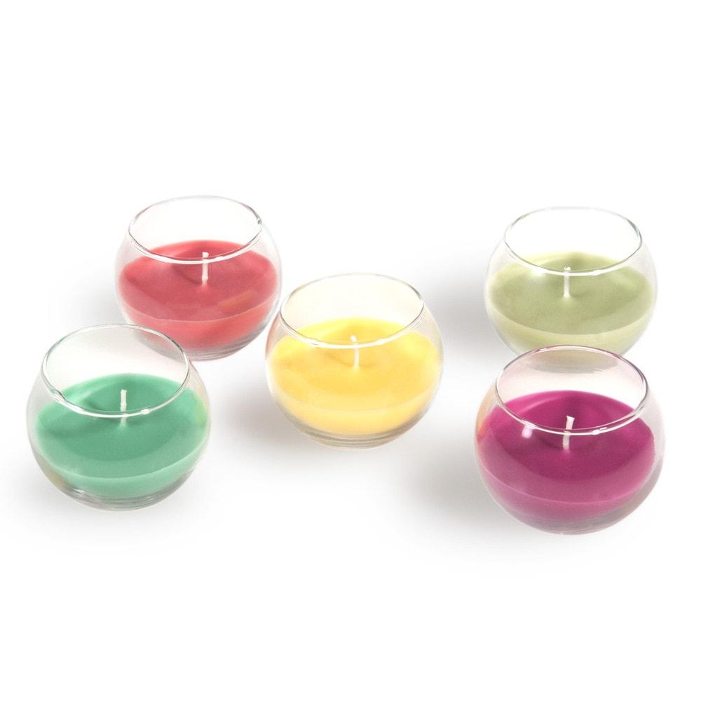 5 multicoloured jar candles garden maisons du monde. Black Bedroom Furniture Sets. Home Design Ideas