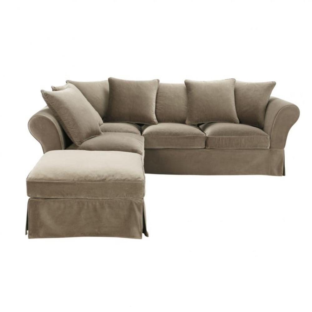5 seat corner sofa in taupe velvet roma roma maisons. Black Bedroom Furniture Sets. Home Design Ideas