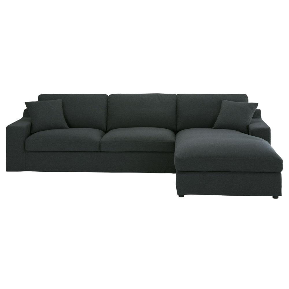 Grey Fabric Left Hand Corner Sofa: 5-seater Charcoal Grey Fabric Right Hand Corner Sofa