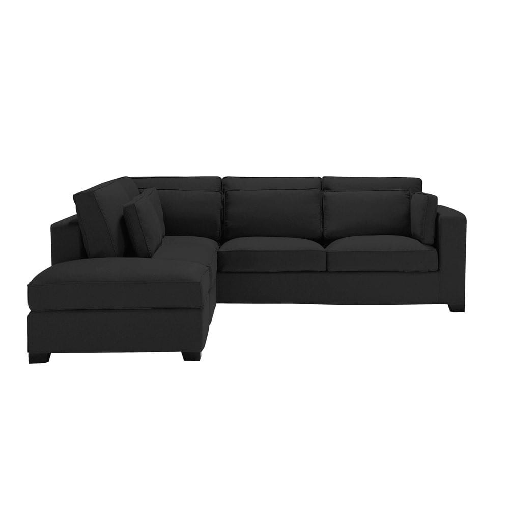 5 seater cotton corner sofa in black milano maisons du monde for Black corner sofa