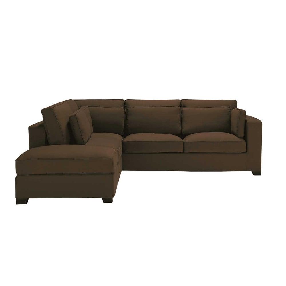 5 seater cotton corner sofa in chocolate milano maisons du monde. Black Bedroom Furniture Sets. Home Design Ideas