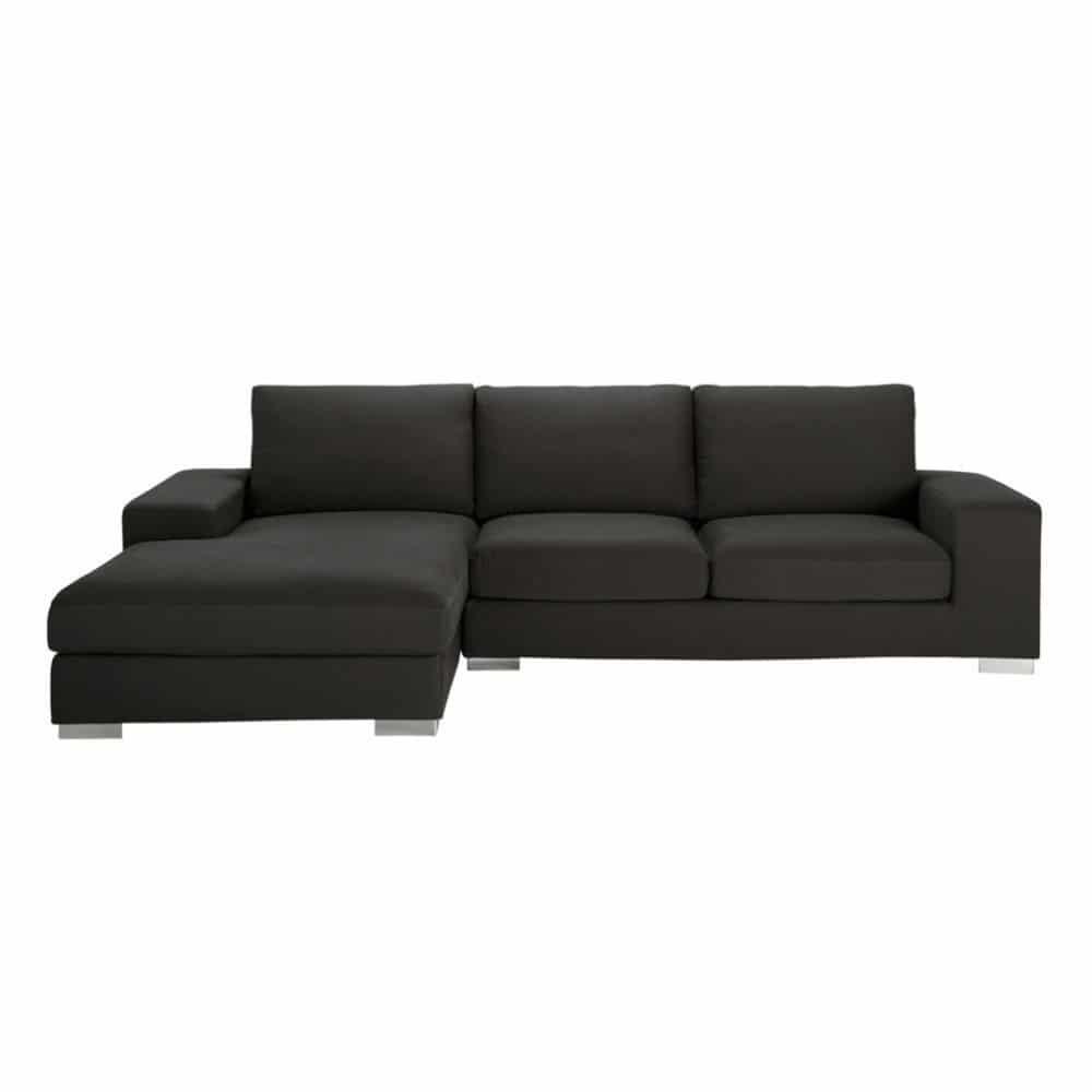 5 seater cotton corner sofa in grey new york maisons du. Black Bedroom Furniture Sets. Home Design Ideas