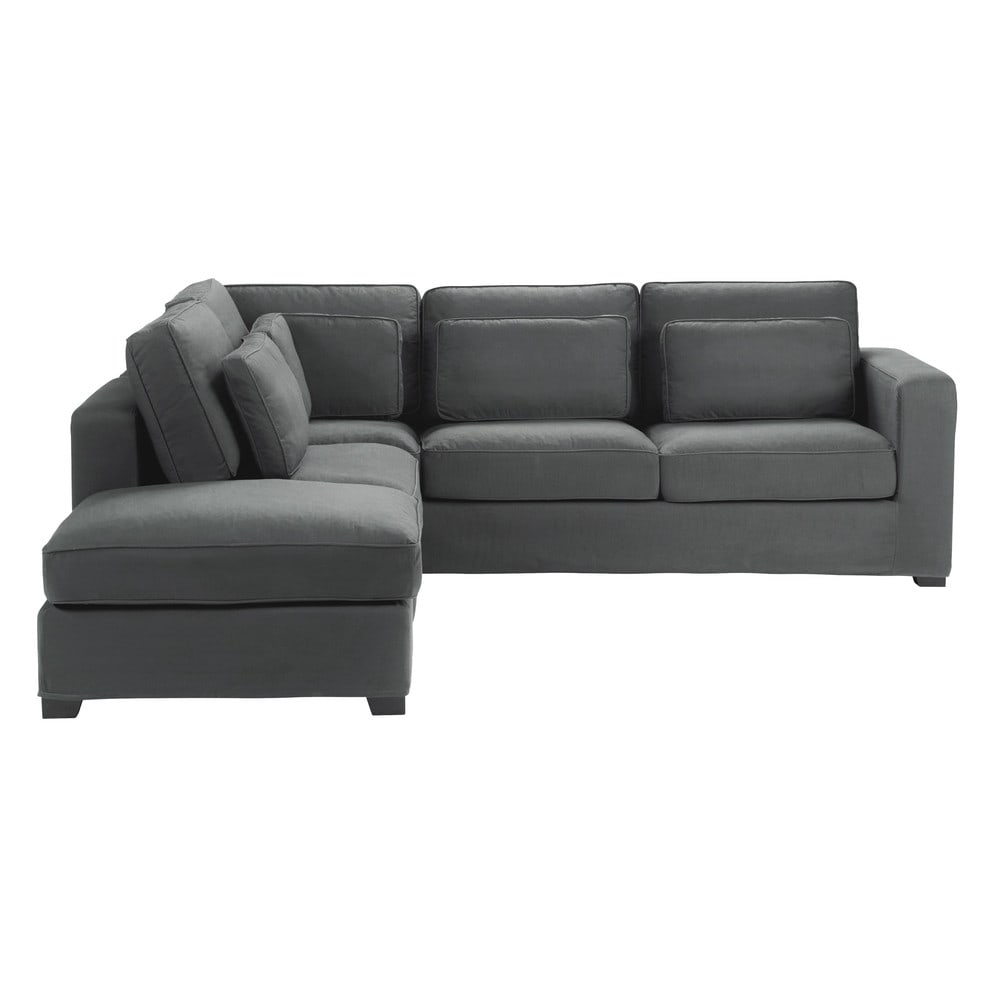 5 seater cotton corner sofa in slate grey milano maisons for Housse pour sofa