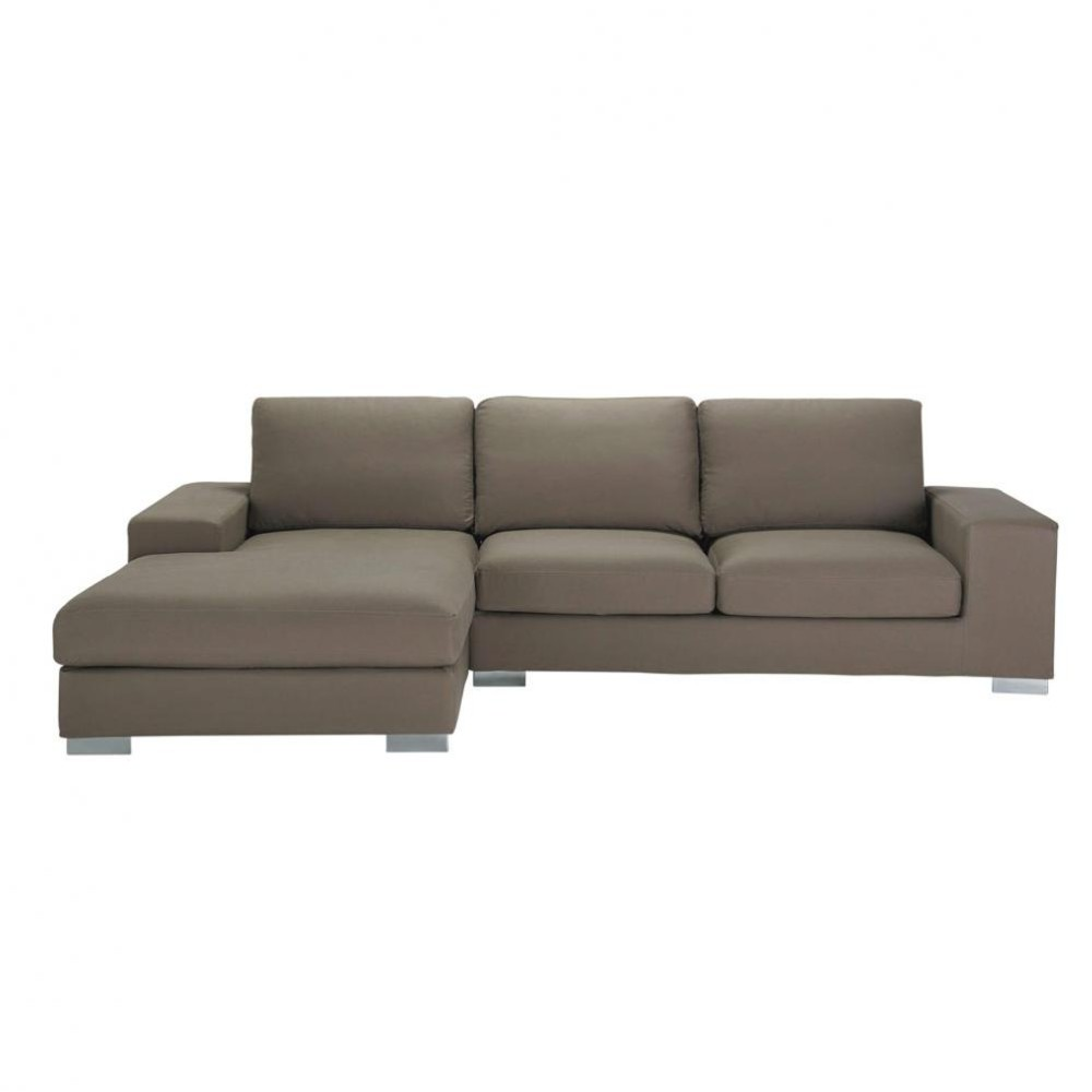 5 seater cotton corner sofa in taupe new york maisons du for Ecksofa taupe
