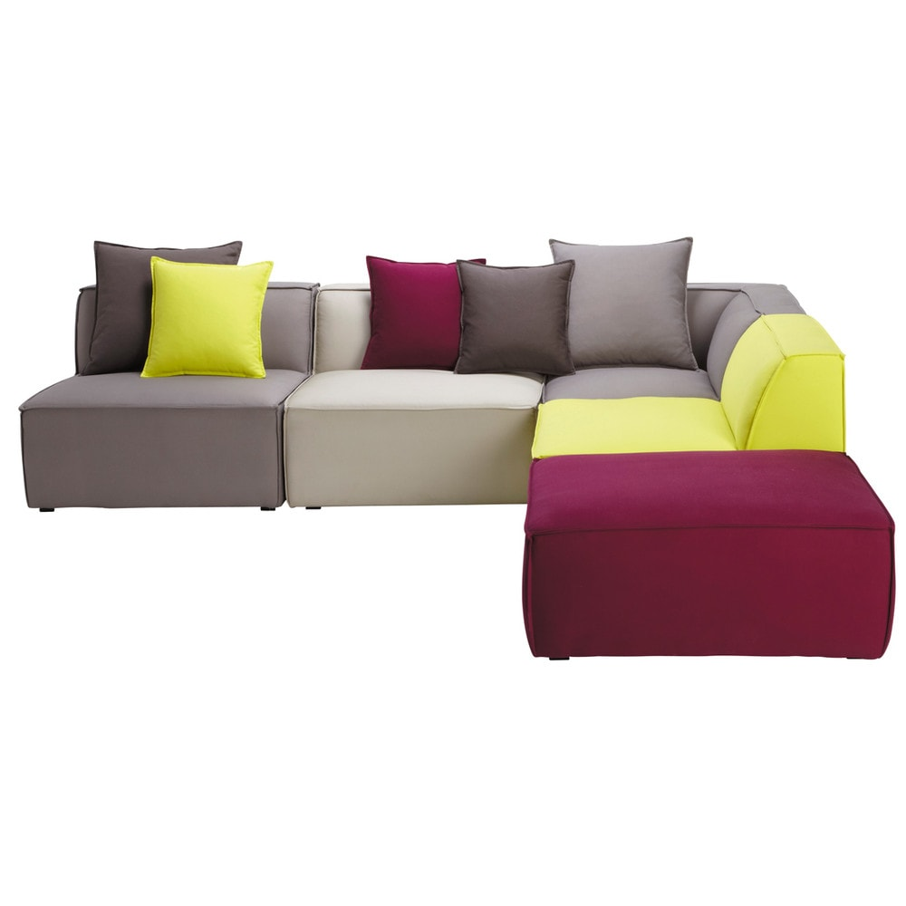 5 Seater Cotton Modular Corner Sofa Multicoloured Floride Maisons Du Monde