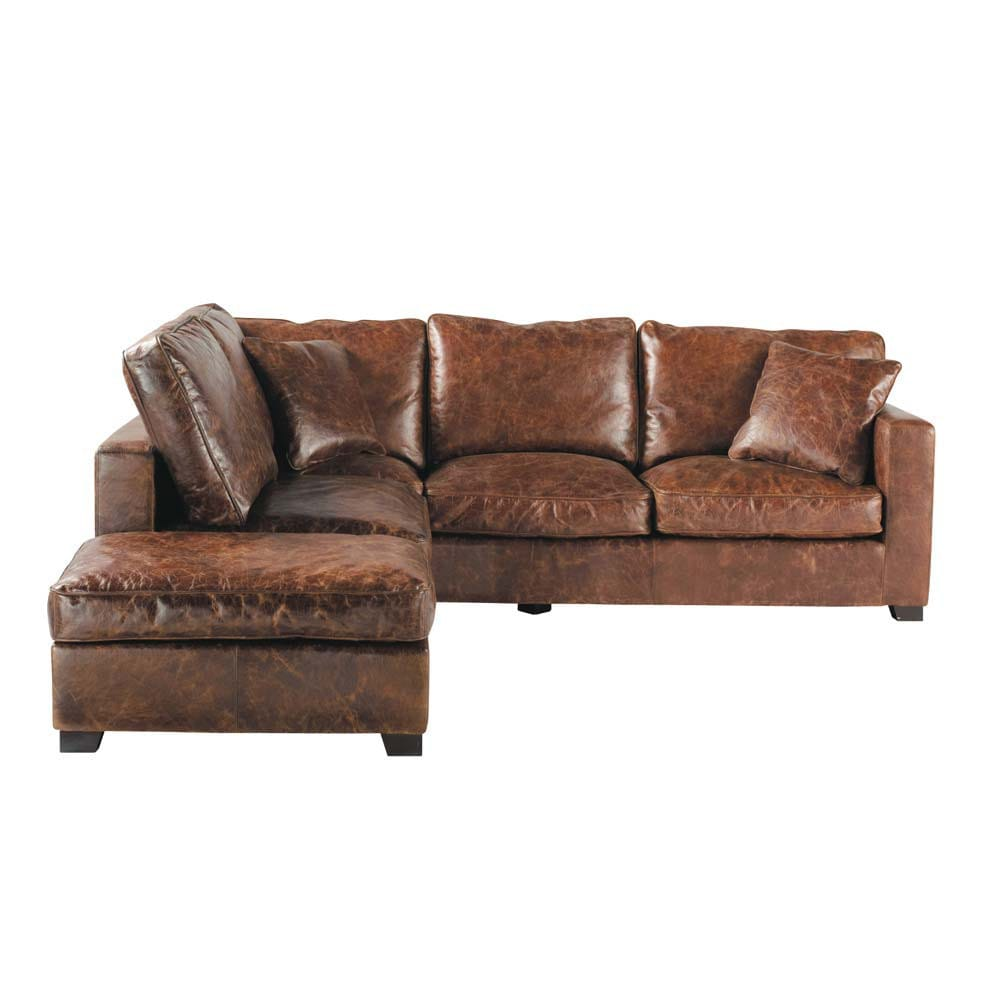 5 seater leather corner sofa in brown stanford maisons du monde. Black Bedroom Furniture Sets. Home Design Ideas