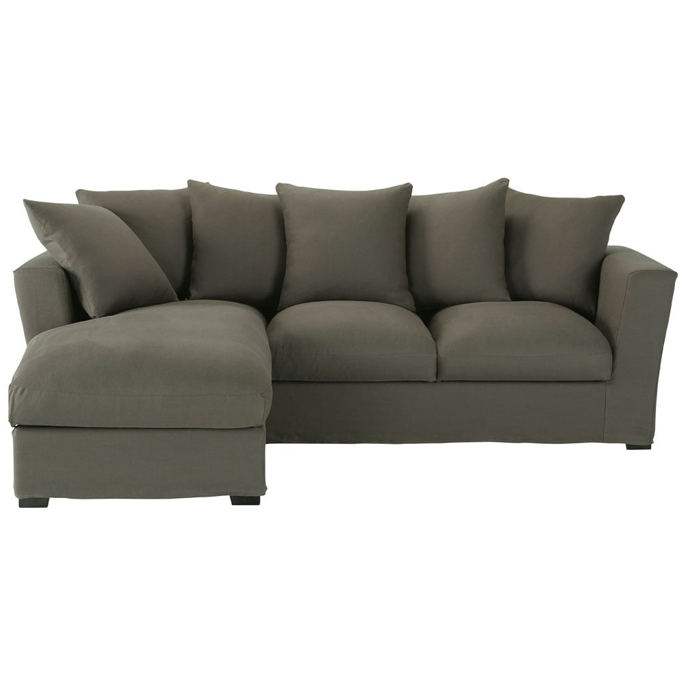 5 seater linen corner sofa bed in grey taupe bruxelles for Sofa bed 5 seater