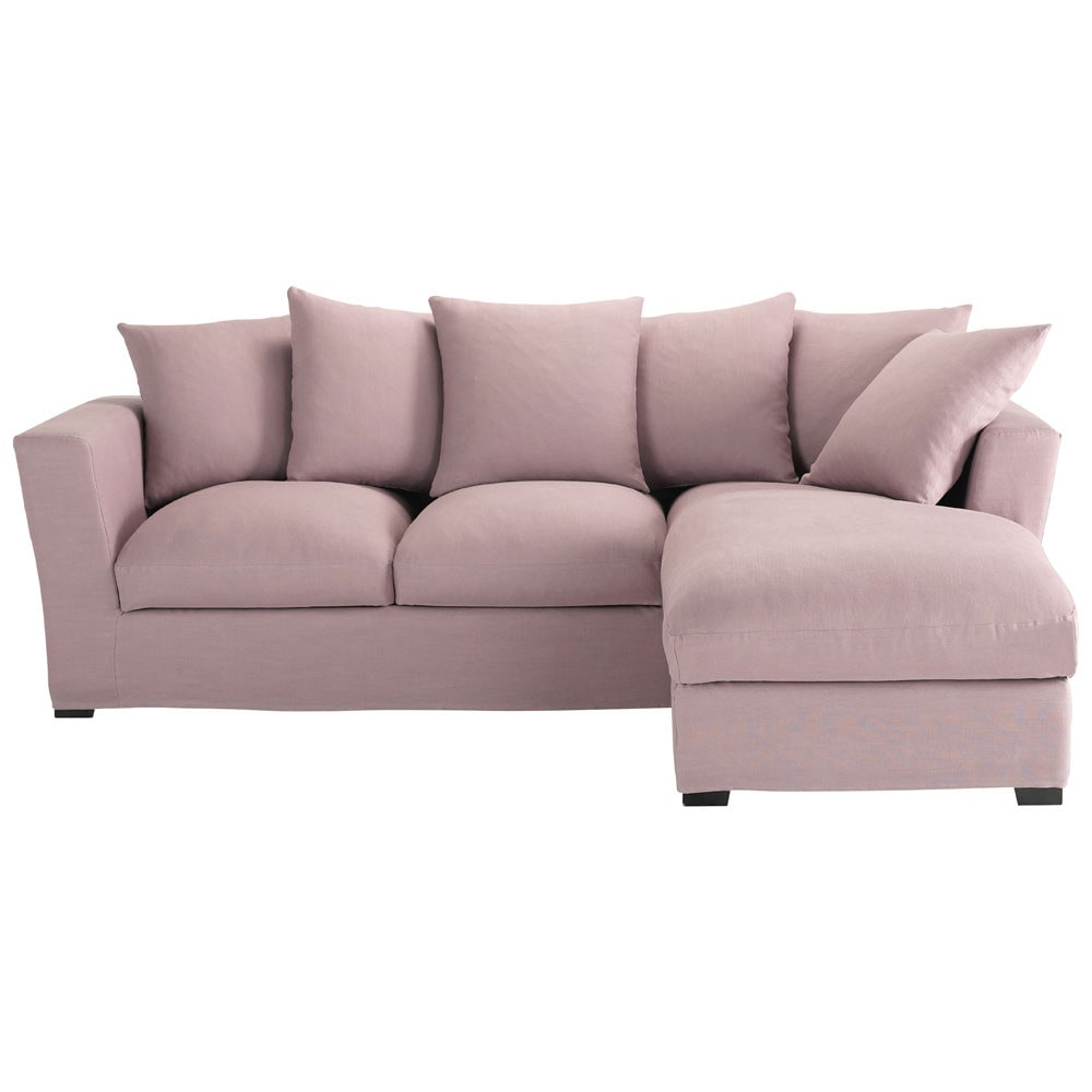 5 seater linen corner sofa bed in mauve bruxelles for Sofa bed 5 seater