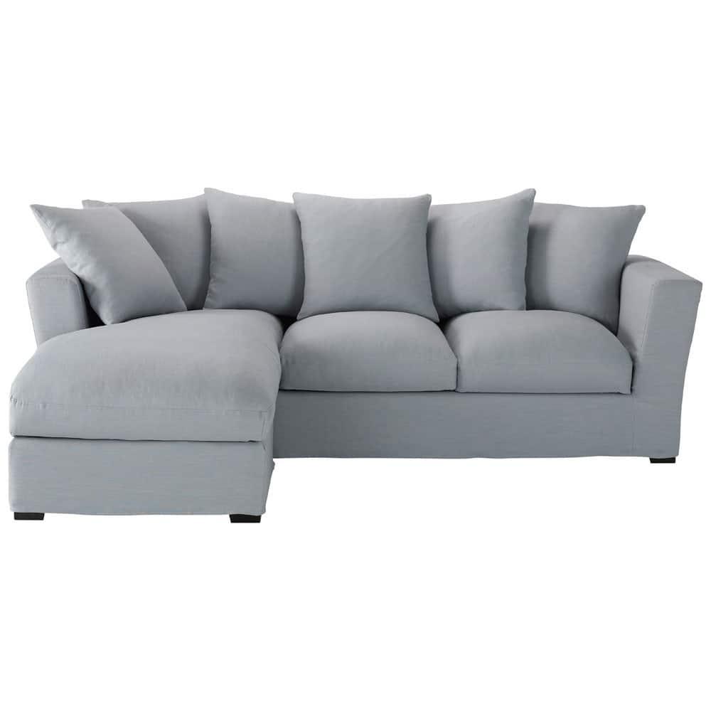 5 seater linen corner sofa in blue bruxelles maisons du - Maison du monde sofa ...