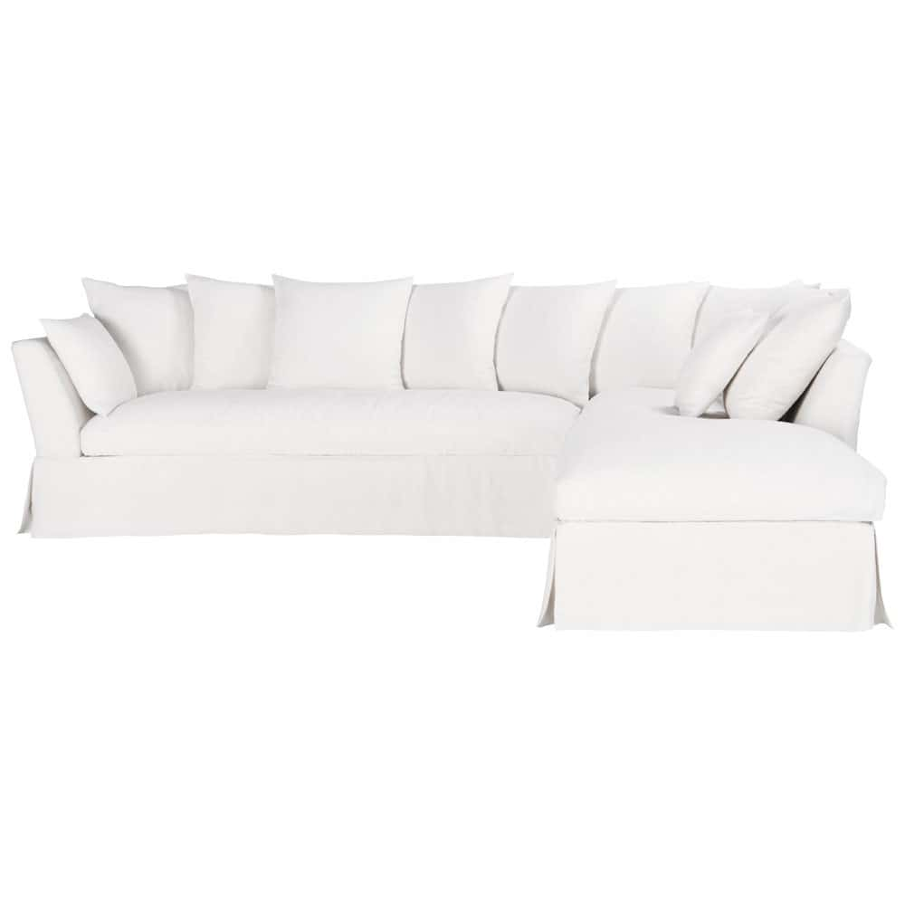 5 seater linen corner sofa in white hamilton maisons du monde. Black Bedroom Furniture Sets. Home Design Ideas