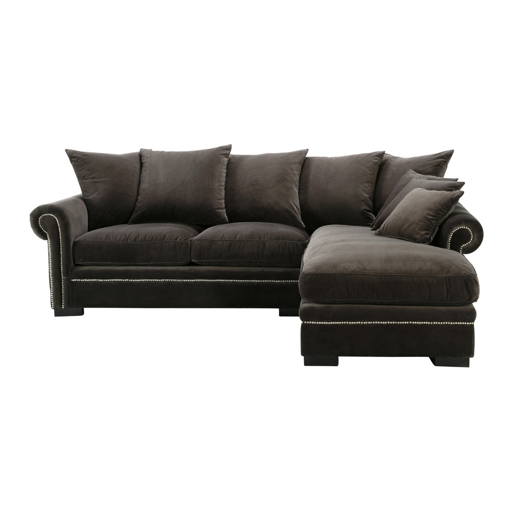 5 seater velvet corner sofa in grey plazza maisons du monde