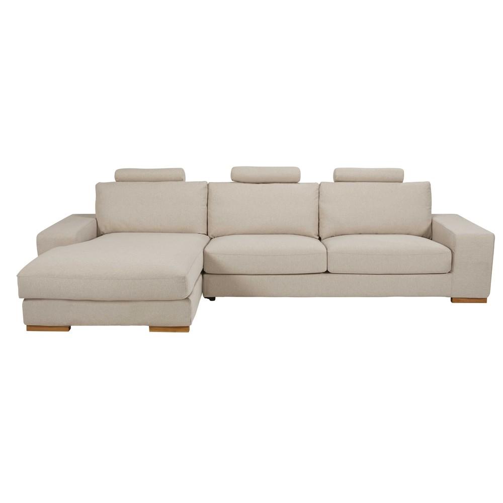 5 sitzer ecksofa ecke links mit beige meliertem. Black Bedroom Furniture Sets. Home Design Ideas