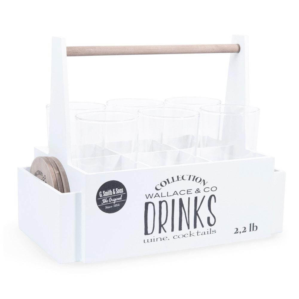 6 bicchieri cestino bianco in legno wallace co for Bicchieri in legno
