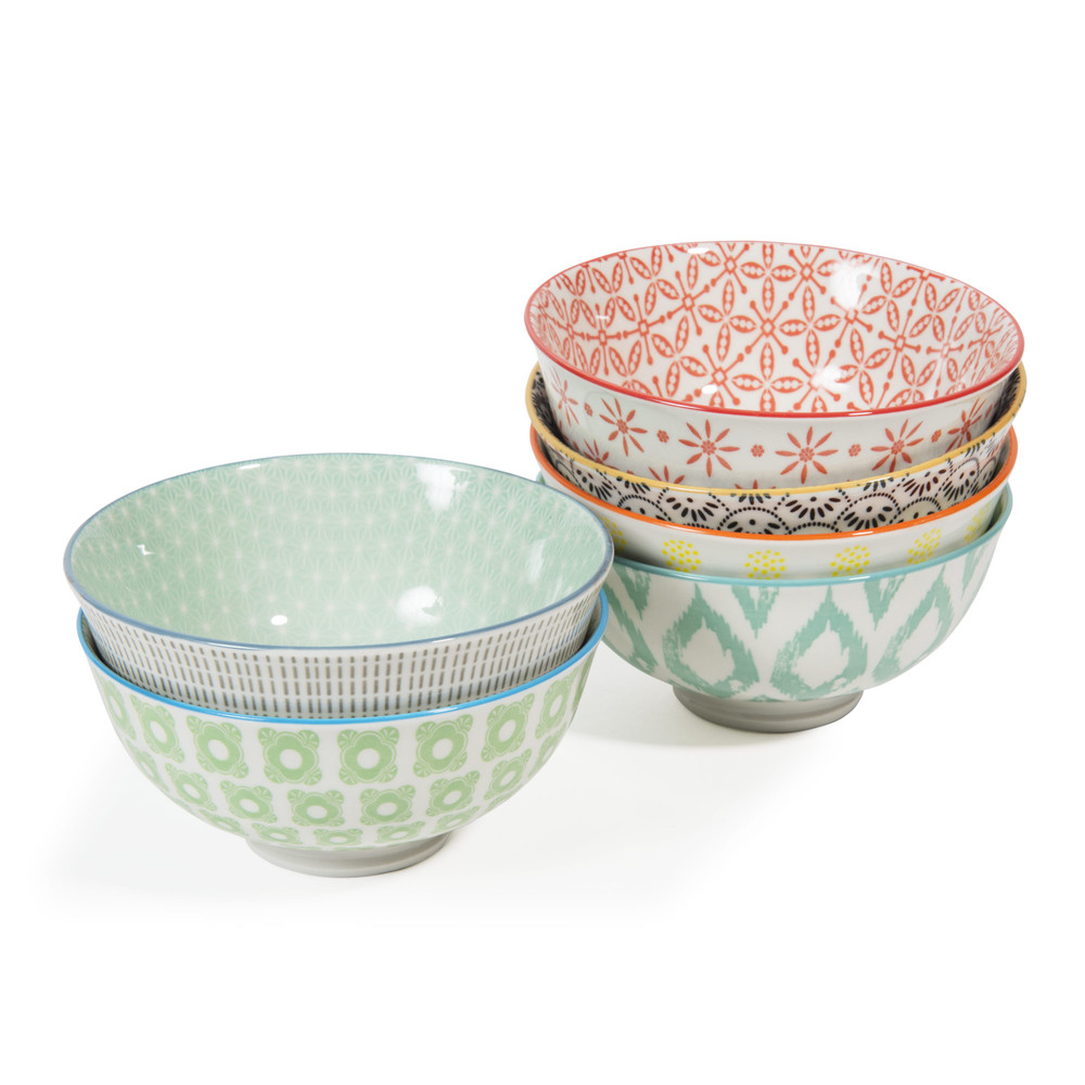 6 bols en porcelaine micromotif maisons du monde - Maison du monde tasse ...
