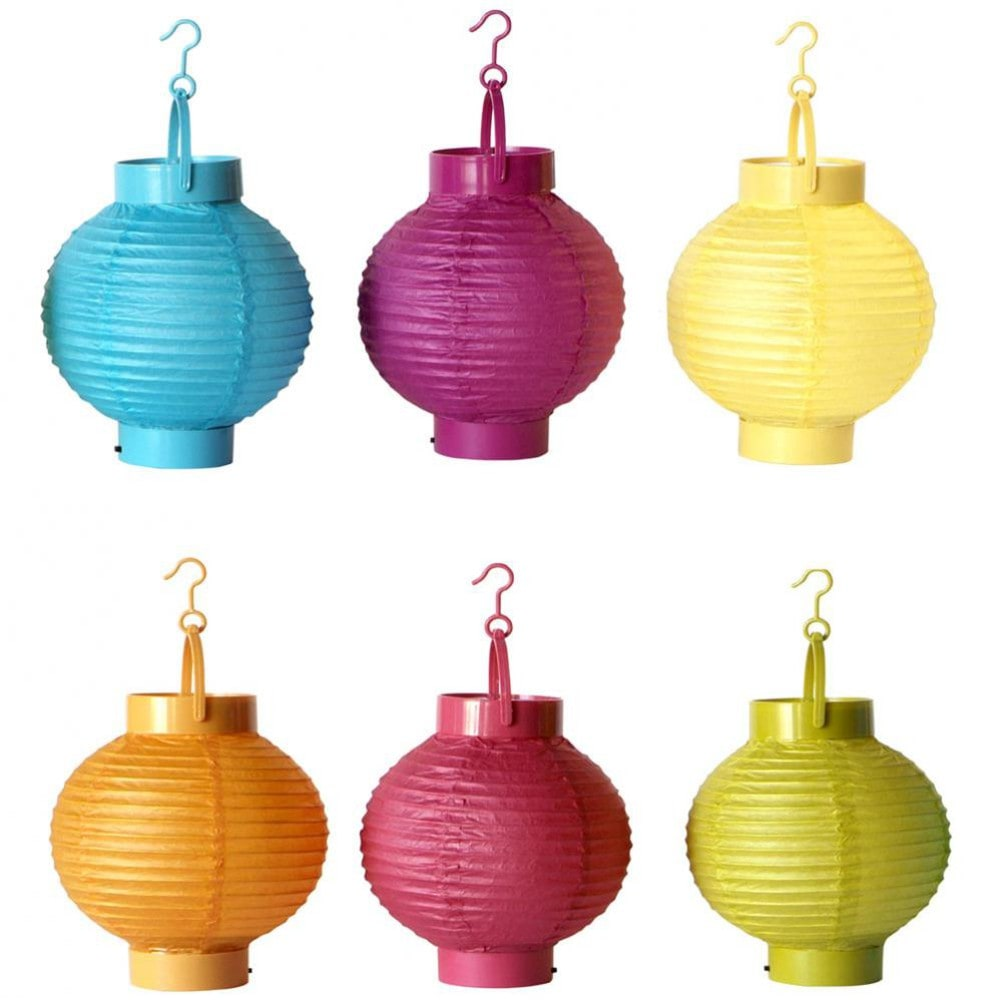 6 lampions lumineux en papier multicolores h 15 cm - Maison du monde lanterne ...