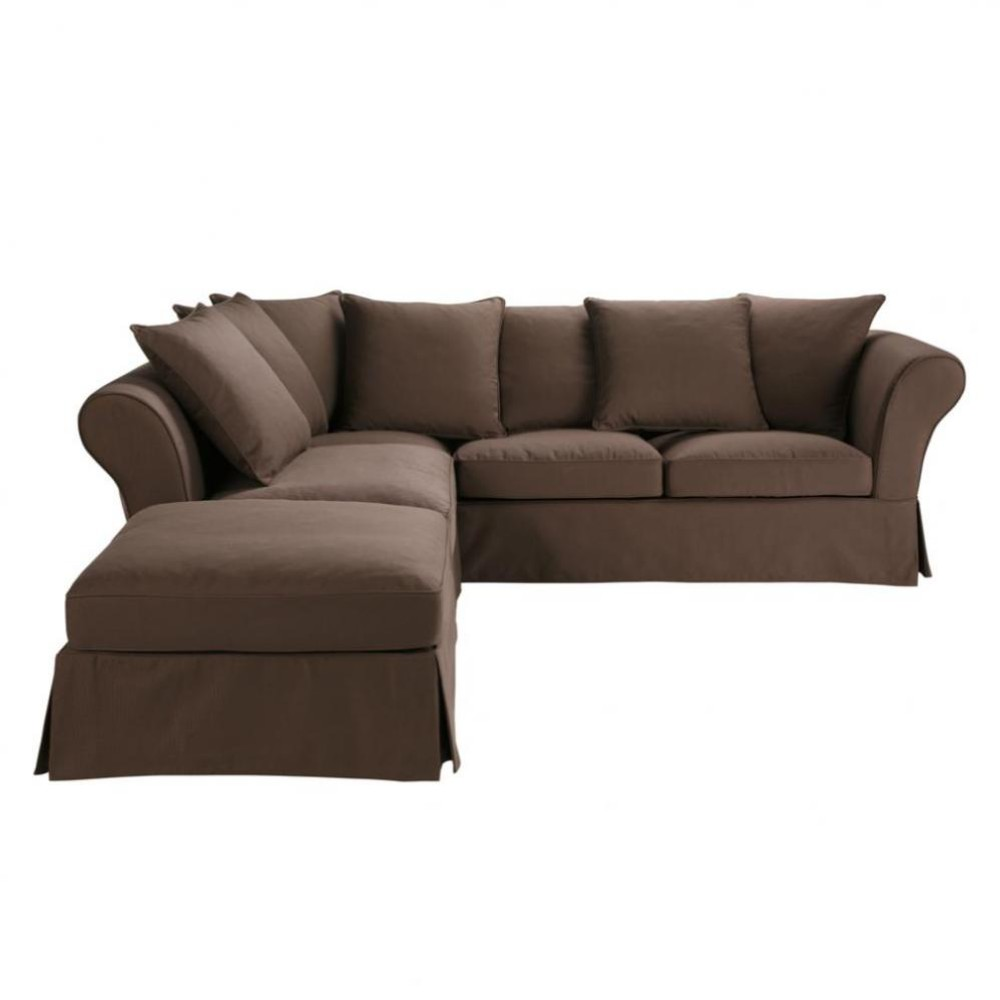 6 seat corner sofa bed in chocolate roma roma maisons du monde - Sofa roma ...
