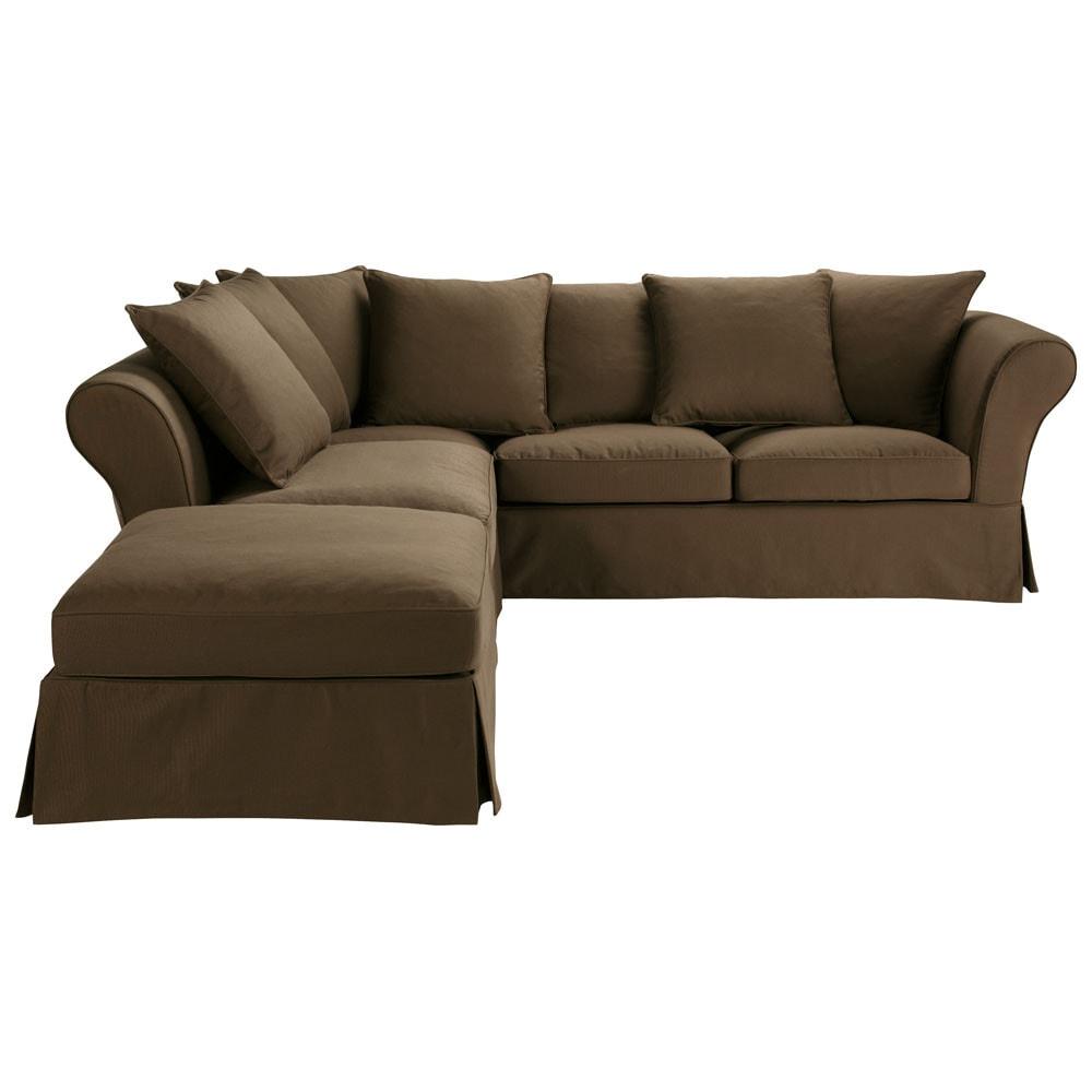 6 seat corner sofa in chocolate roma roma roma maisons du monde - Sofa roma ...