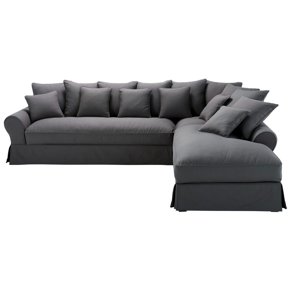 6 seater charcoal grey cotton right hand corner sofa