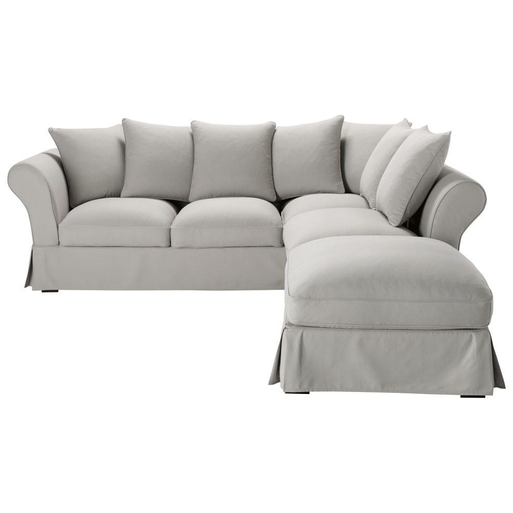 6 Seater Cotton Corner Sofa Bed In Light Grey Roma