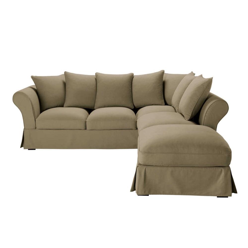 5 Seater Cotton Corner Sofa In Taupe Maisons Du Monde Www