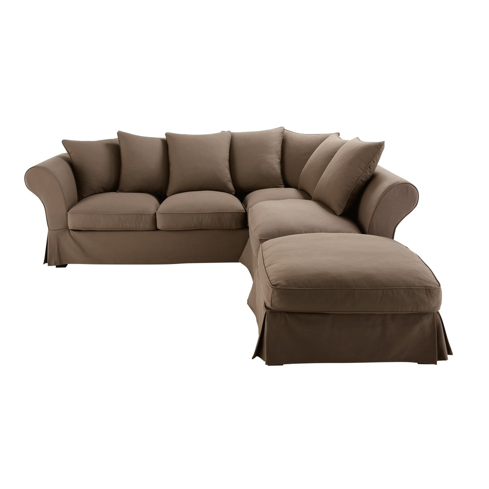 6 seater cotton corner sofa bed in taupe roma maisons du for Sofa 6 seater