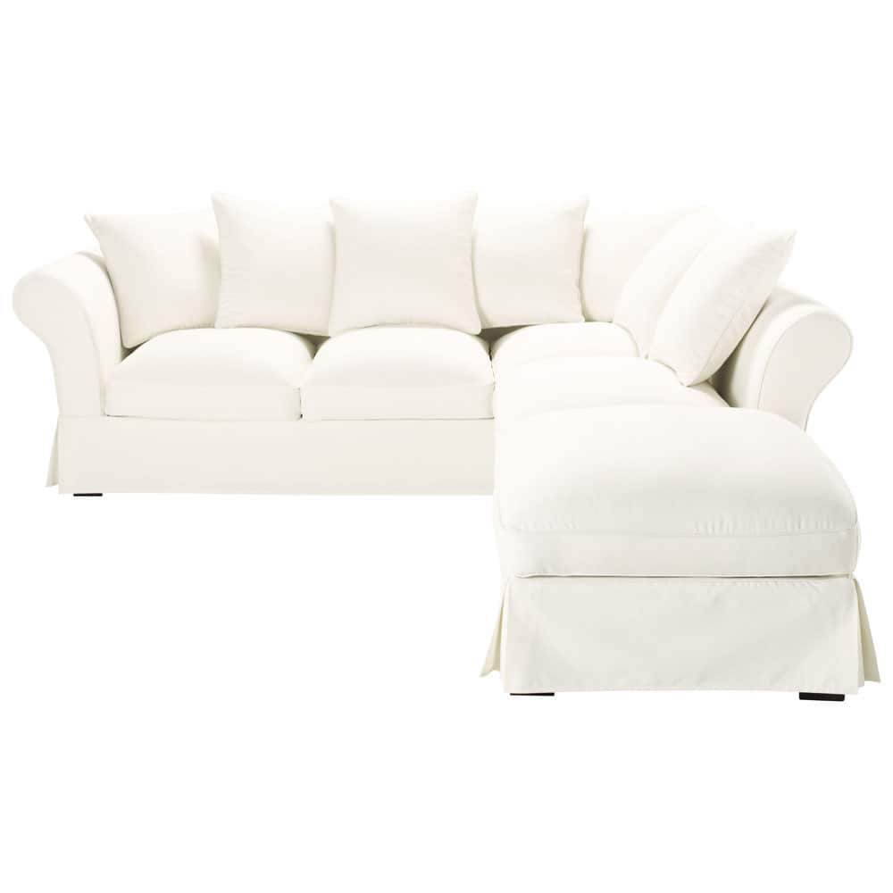 6 seater cotton corner sofa in ivory roma maisons du monde for Sofa 6 seater