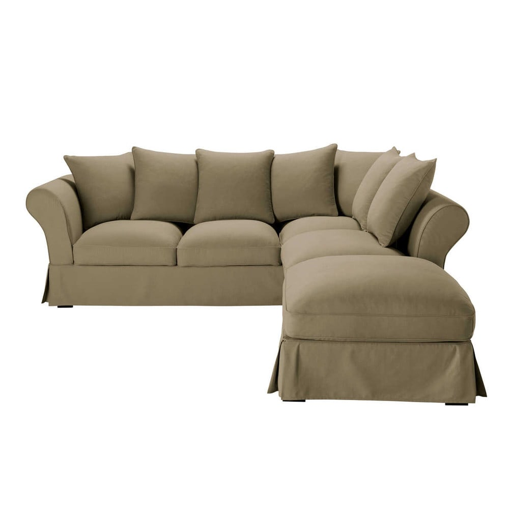 6 seater cotton corner sofa in taupe roma maisons du monde for Sofa 6 seater