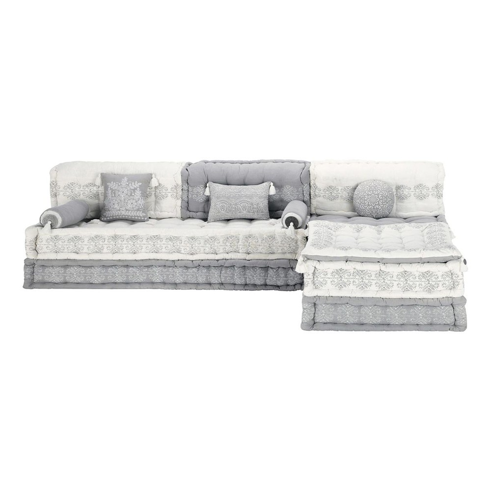 6 seater cotton modular corner day bed in grey and white goa maisons du monde. Black Bedroom Furniture Sets. Home Design Ideas