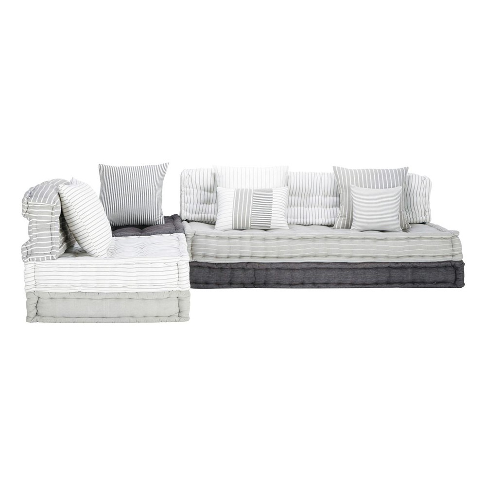 6 seater cotton modular corner day bed in grey and white honfleur maisons du monde. Black Bedroom Furniture Sets. Home Design Ideas