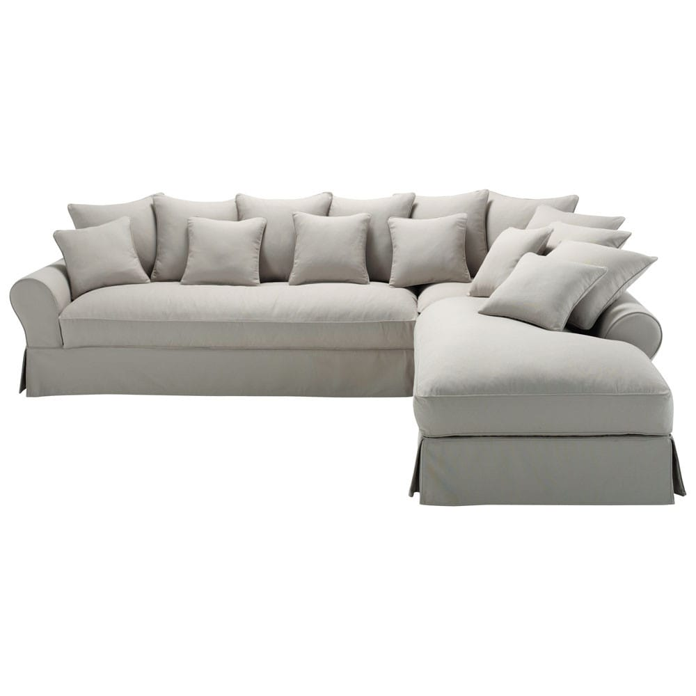 6 seater light grey cotton right hand corner sofa bastide maisons du monde. Black Bedroom Furniture Sets. Home Design Ideas