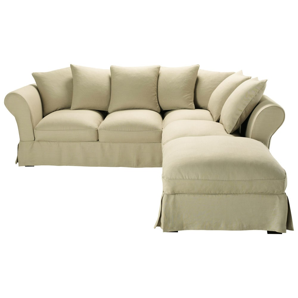 6 Seater Linen Corner Sofa Bed In Natural Colour Roma