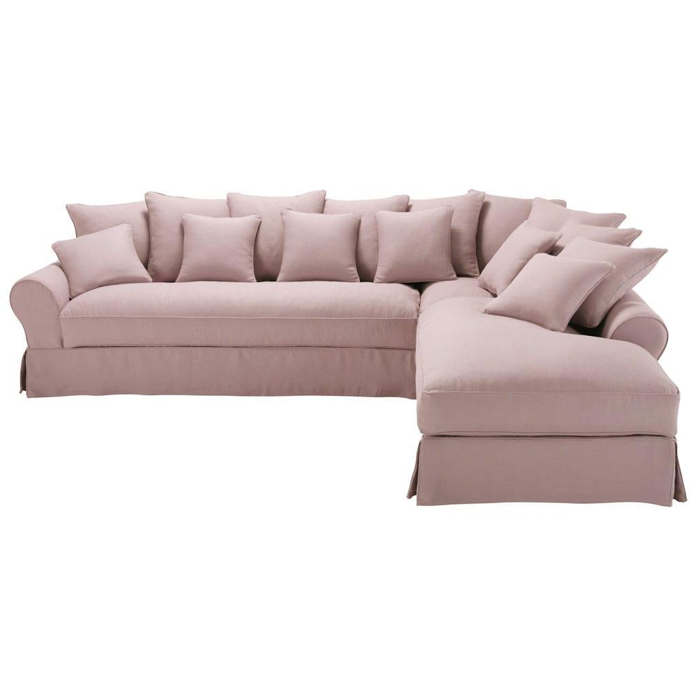 6 seater linen corner sofa in mauve bastide maisons du monde. Black Bedroom Furniture Sets. Home Design Ideas