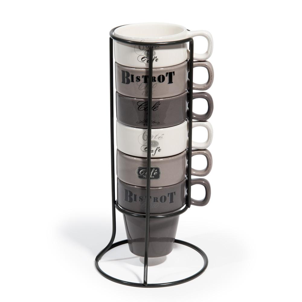 6 tasses en fa ence support tourville maisons du monde - Tasse a cafe avec support ...