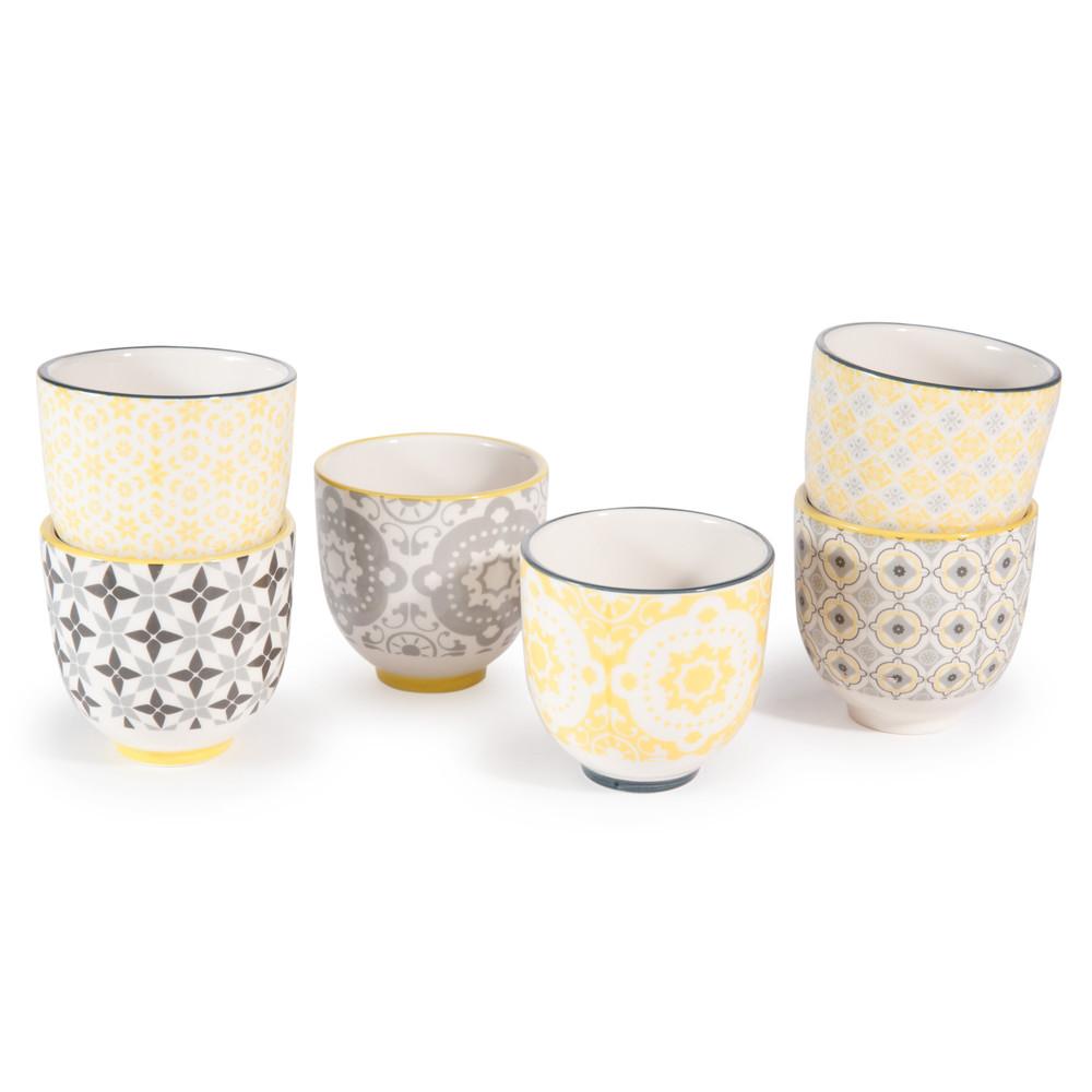 6 tasses en porcelaine yellow maisons du monde. Black Bedroom Furniture Sets. Home Design Ideas