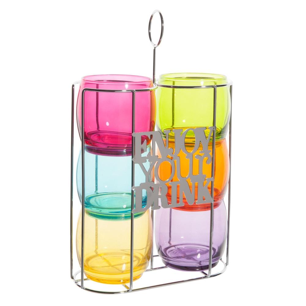 6 verres eau support en m tal enjoy your drink maisons du monde - Verre maison du monde ...