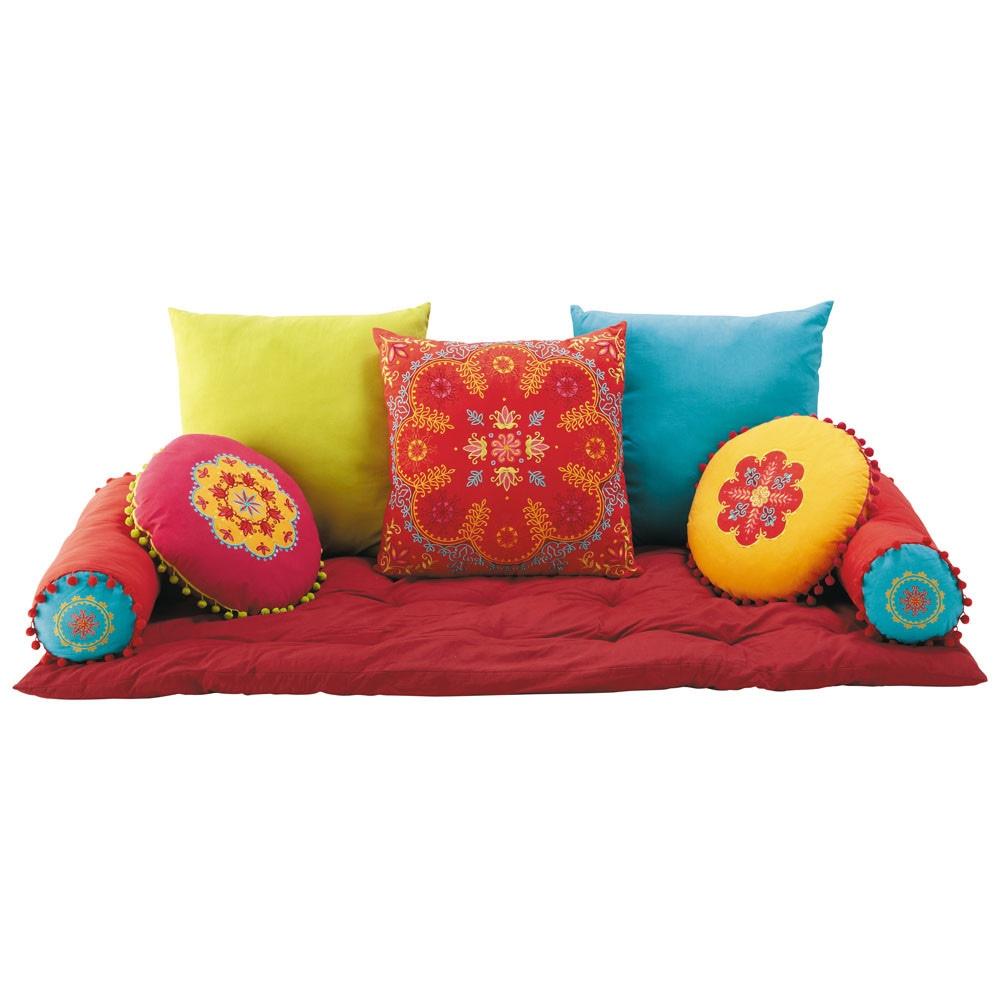 7 cuscini materasso in cotone multicolore roulotte for Cuscini grandi maison du monde