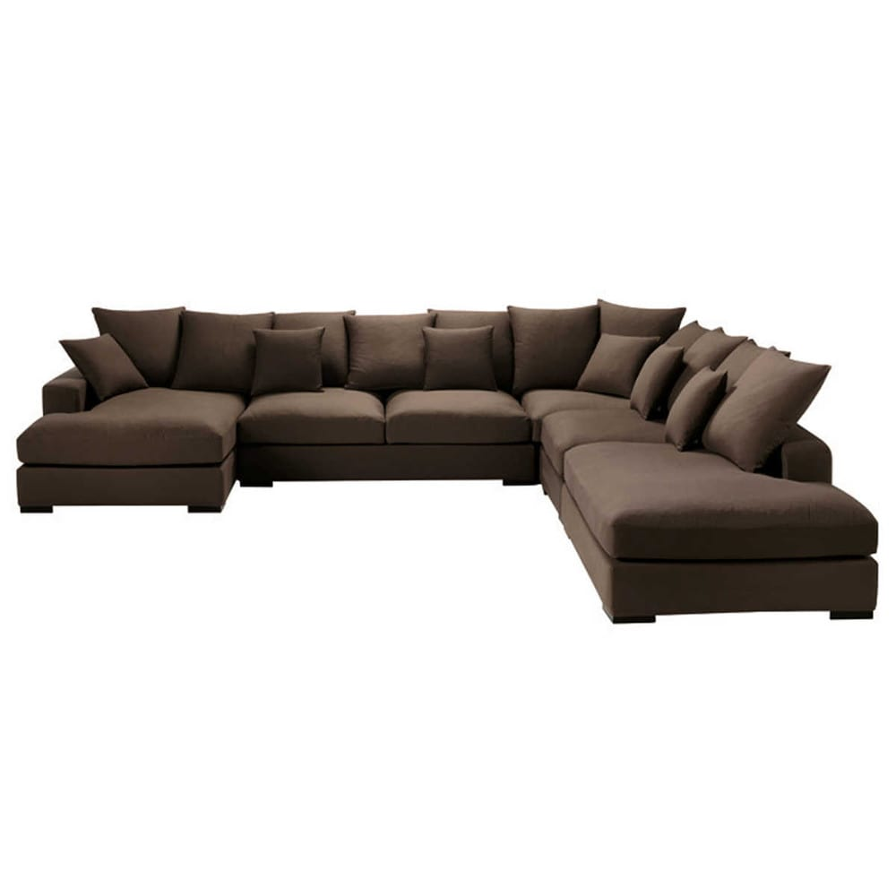7 seater cotton modular corner sofa in chocolate loft. Black Bedroom Furniture Sets. Home Design Ideas