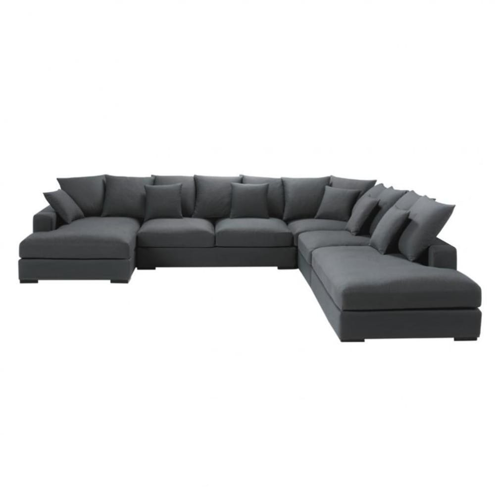 7 seater cotton modular corner sofa in grey loft maisons du monde. Black Bedroom Furniture Sets. Home Design Ideas