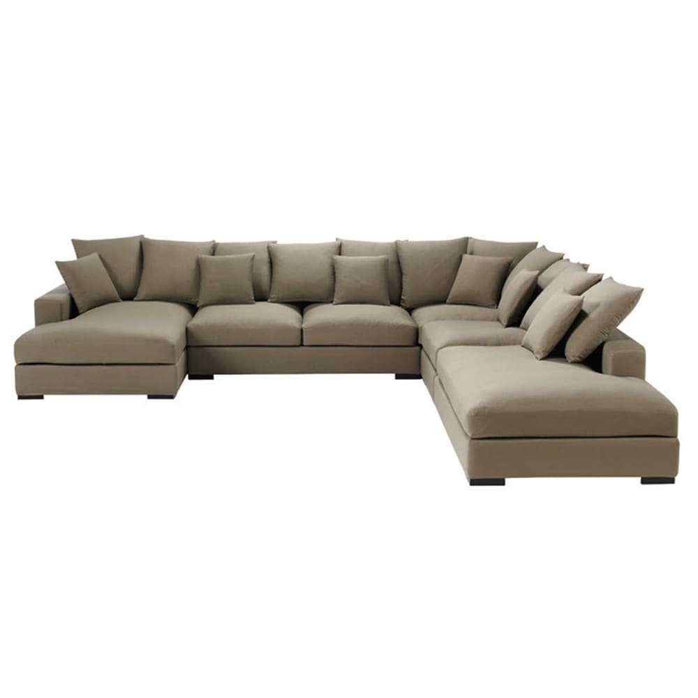 7 seater cotton modular corner sofa in taupe loft for Sofa 7 seater