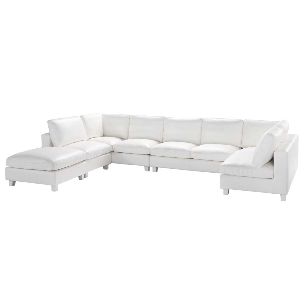 7 seater split leather u shaped corner sofa in ivory for Leather sofa 7 seater