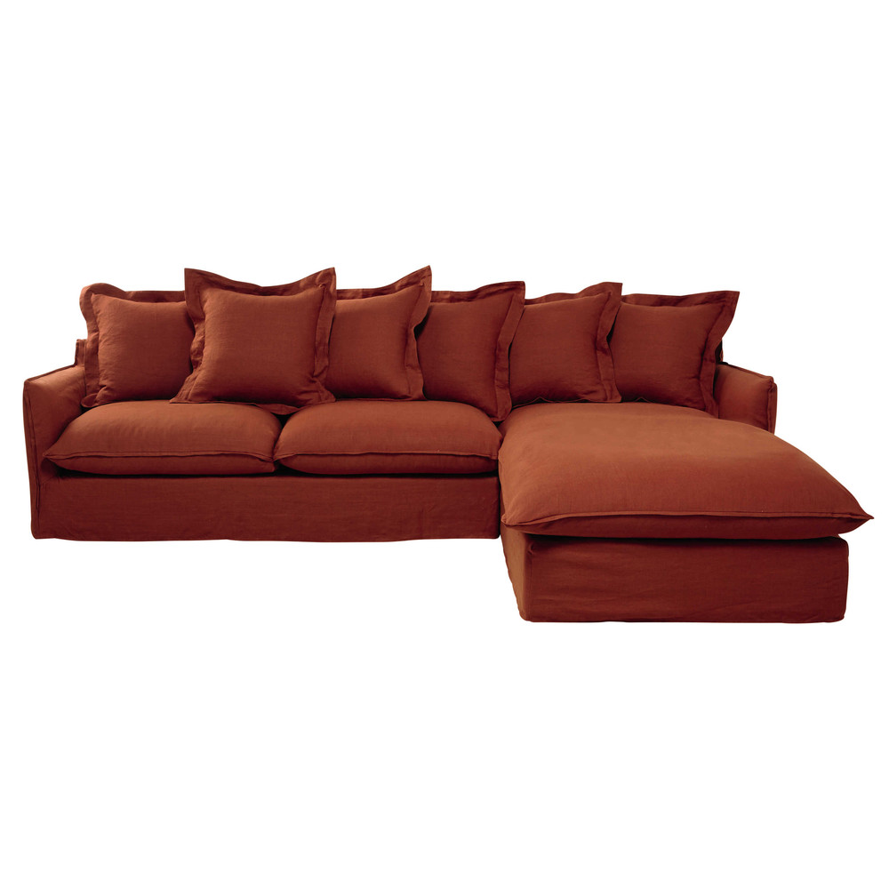 7 seater washed linen corner sofa in brick red barcelone for Sofa 7 seater